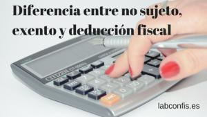 Diferencia entre no sujeto, exento y deducción fiscal.